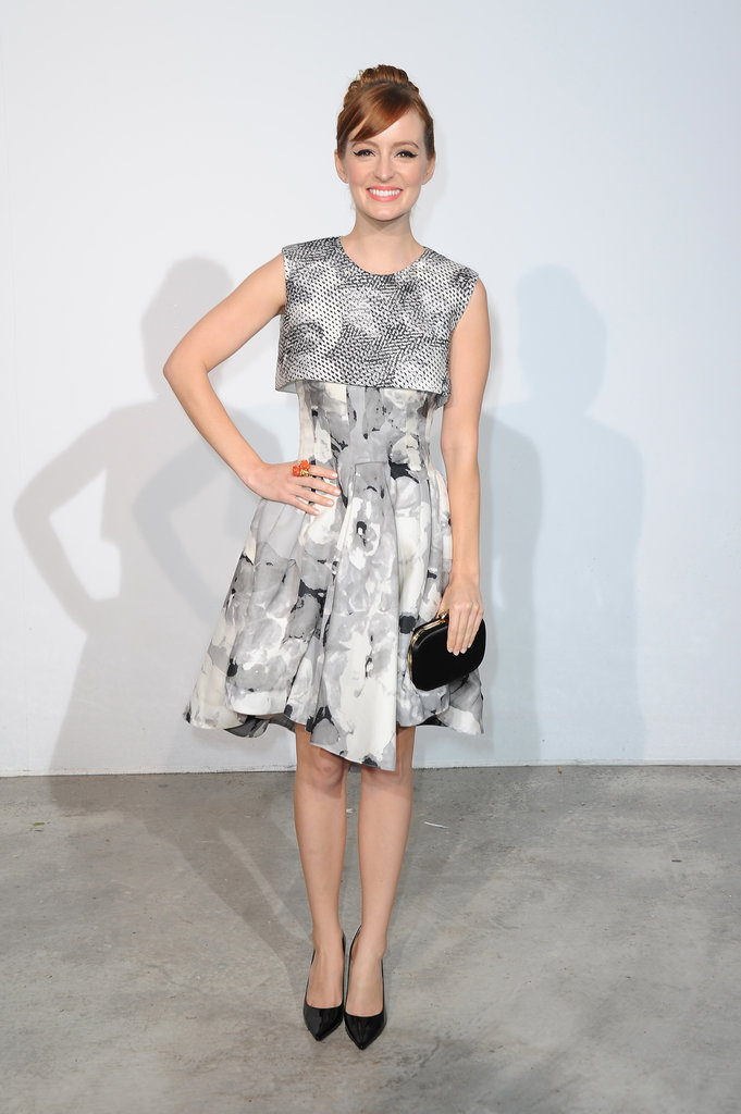 Ahna O'Reilly kept her prints loud but colors muted in Christian Dior at the Dior Cruise collection fashion show in Monaco. A black Dior clutch and black pumps lent further dimension.