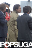 Jim Carrey kept a low profile in a raincoat.