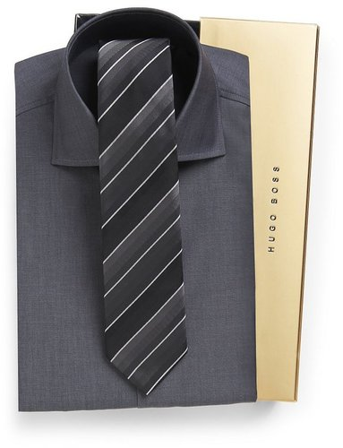 'Jaron'   Slim Fit Dress Shirt and Tie Gift Set by BOSS