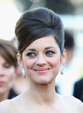 Marion Cotillard debuted Chopard's Green Carpet collection with diamond hoop earrings