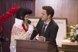 Dressed as Elvis, Jess pulls out all the stops to help Nick through his dad's funeral.