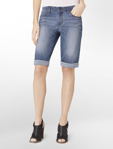 Light Wash Bermuda Style Denim Shorts