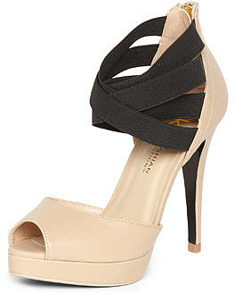 Kardashian Kollection nude elastic ankle platform