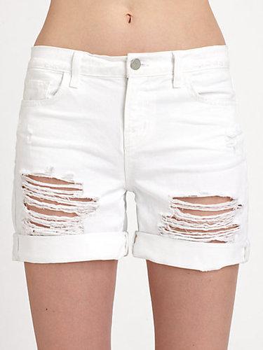 J Brand Nash Mid-Rise Shredded Denim Shorts