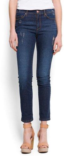 Distressed high-waist jeans