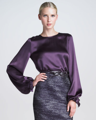Carolina Herrera Bow-Cuff Silk Satin Blouse