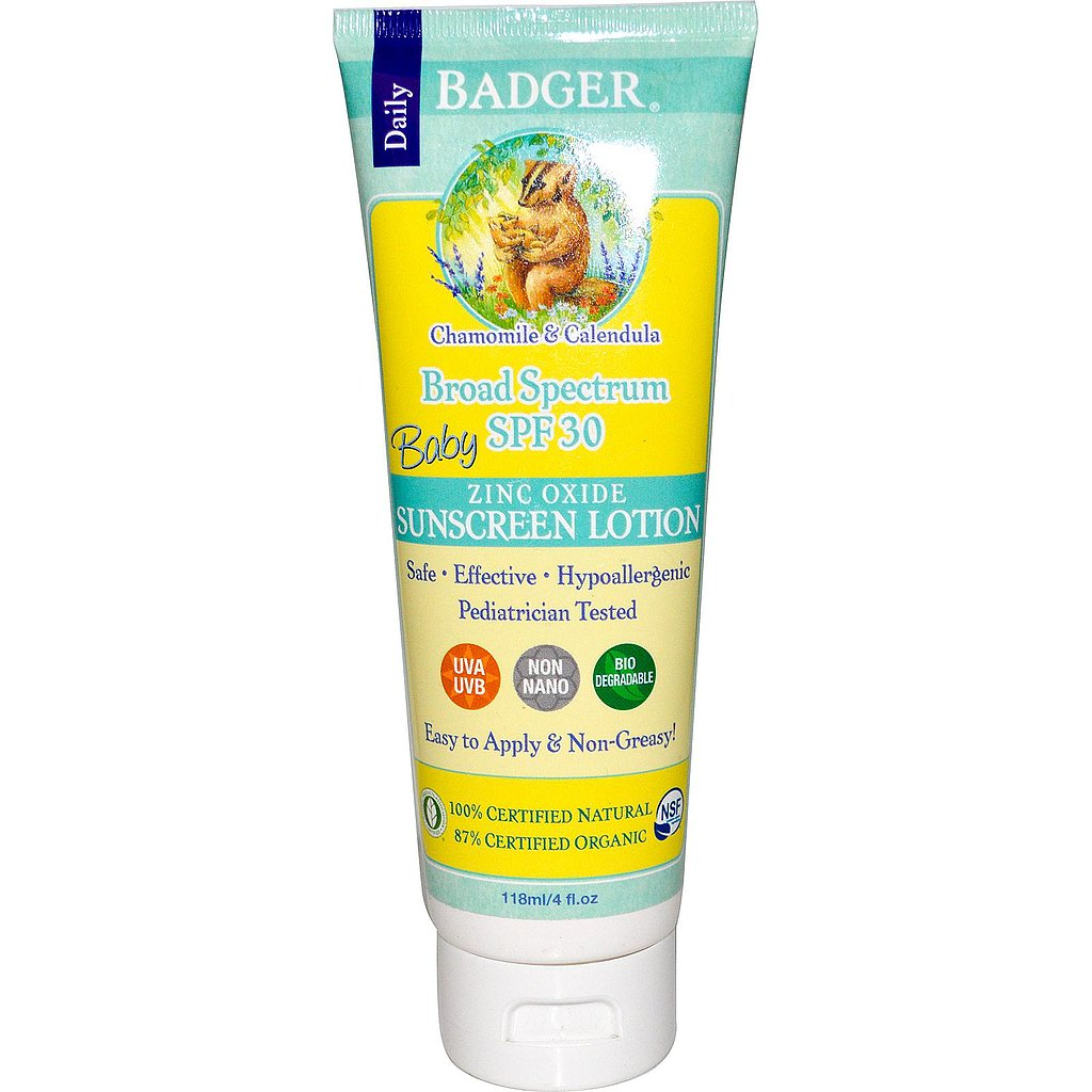 One of the highest-rated sunscreens on the EWG list (it has a low health concern), Badger's Baby Sunscreen Lotion ($18) is certified natural, using zinc oxide as a blocker and aloe vera as its base for easy application.
