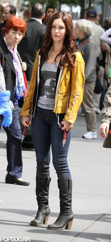 Megan Fox filmed in Times Square in NYC.
