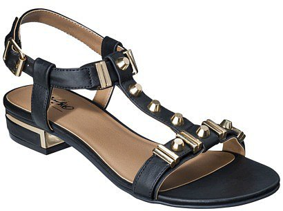Women's Mossimo® Patrice Block Heeled Sandal with Gold Studs - Black