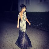 Chanel Iman gave us a glimpse of the back of her gorgeous fishtail dress.  Source: Instagram user chaneliman
