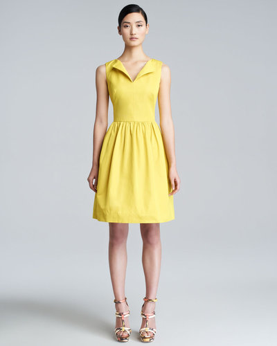 Lela Rose Split-Neck A-Line Dress