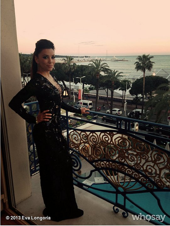 Eva Longoria posed on her balcony in a sexy low-cut gown (and made us insanely jealous of her ocean view). Source: Eva Longoria on WhoSay