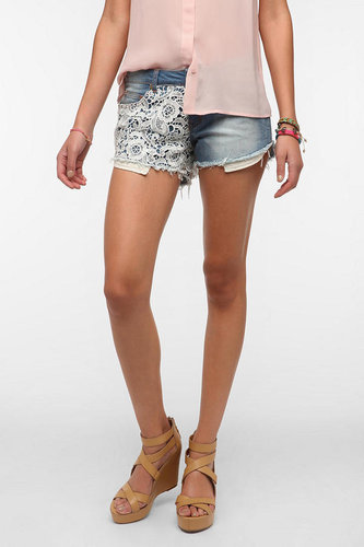 Reverse Crochet Panel Denim Short