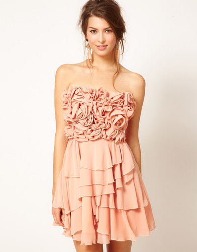 Rare Opulence Flower Embellished Bandeau Dress