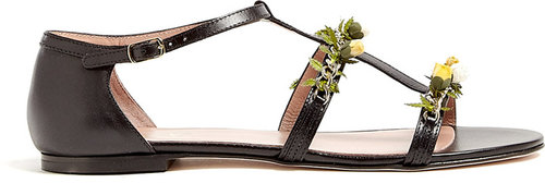 Red Valentino Flower Appliqué Leather Sandals