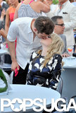 Andrew Garfield kissed Emma Stone during the charity bash.
