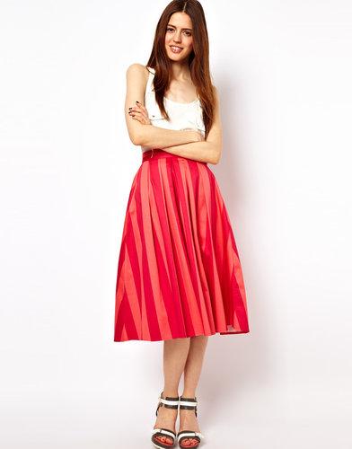 ASOS Midi Skirt In Bold Stripe