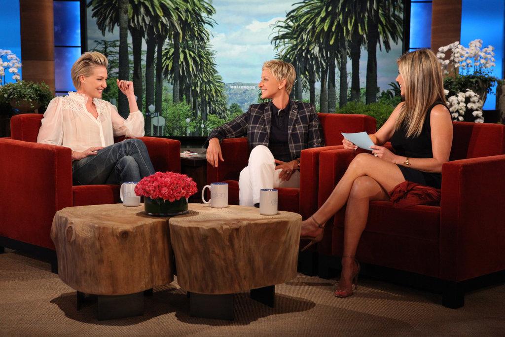Portia de Rossi makes a visit to The Ellen DeGeneres Show with Jennifer Aniston as cohost. Source: Michael Rozman/Warner Bros.