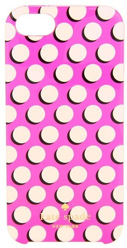 Kate Spade New York - Newsprint Dot Phone Case for iPhone 5 (Zinnia Pink/Cream) - Bags and Luggage