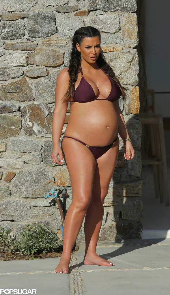 Kim Kardashian spent time in the sun in a purple bikini while in Mykonos, Greece, in April 2013.