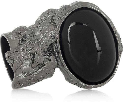 Saint Laurent Arty ruthenium-plated glass ring
