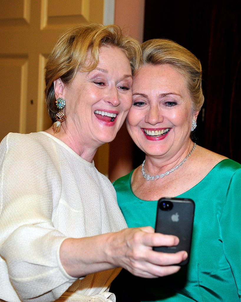 Meryl Steep, the queen of Hollywood, and Hillary Clinton, the most powerful woman in Washington, united for a smiley selfie at the Kennedy Center Honors in December 2012. Meryl donated her image to a charity. For $200, you can have a copy of the iconic selfie and contribute to Shutter to Think's education efforts.