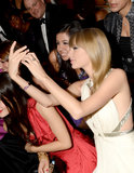 Taylor Swift snapped a photo of herself with a friend at the Grammy Awards back in February 2013.