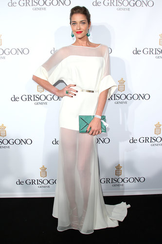 Ana Beatriz Barros was ethereal in her white sheer gown at the de Grisogono party at Cannes. A green Smythson clutch and matching earrings added lots of flair.