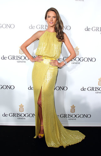 Alessandra Ambrosio shined in a yellow sequined Elie Saab gown at the de Grisogono party at Cannes.