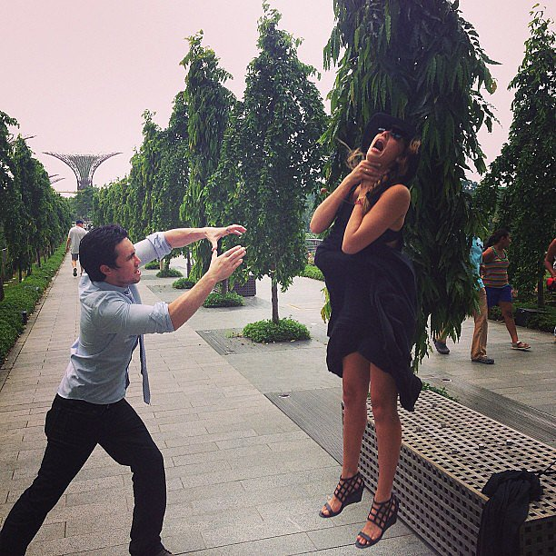 "Jessica Alba got ""Vadered"" by a friend during a trip to Singapore. Source: Instagram user jessicaalba"