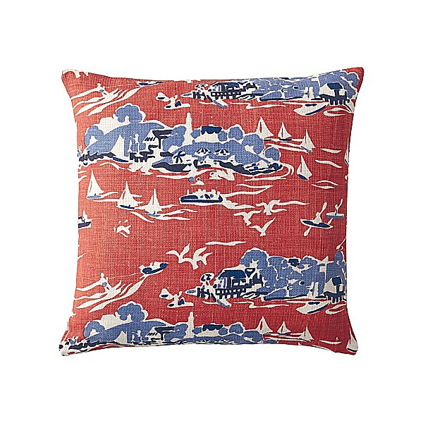 Try pairing it with another patterned piece that has a different print scale but a coordinating color palette, like this Skylake Toile Pillow Cover ($64).