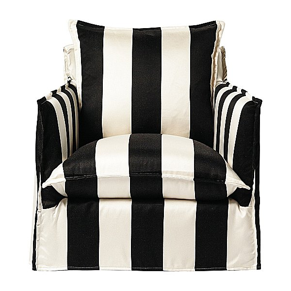 The Sundial Chair ($1,795) gets a style boost, thanks to a boldly striped slipcover.