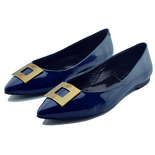 ROGER VIVIER PATENT LEATHER POINTED BLUE FLATS SHOES