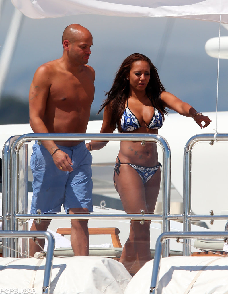 Mel B walked around a yacht with her husband, Stephen Belafonte, in Cannes in May 2013.