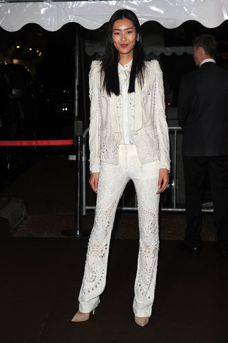 Meanwhile, Liu Wen partied in a perfectly tailored white suit.