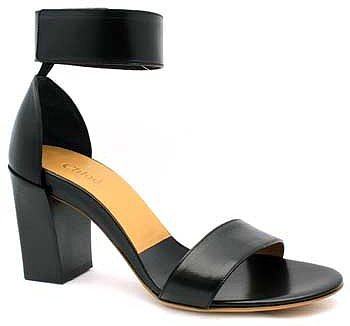 "Chloe ""CH20094"" Black Leather Ankle Strap Chunky Heel Sandal"