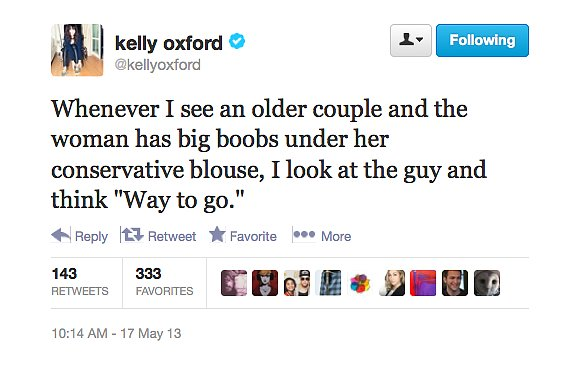@kellyoxford gives props to guys who've won over busty partners.