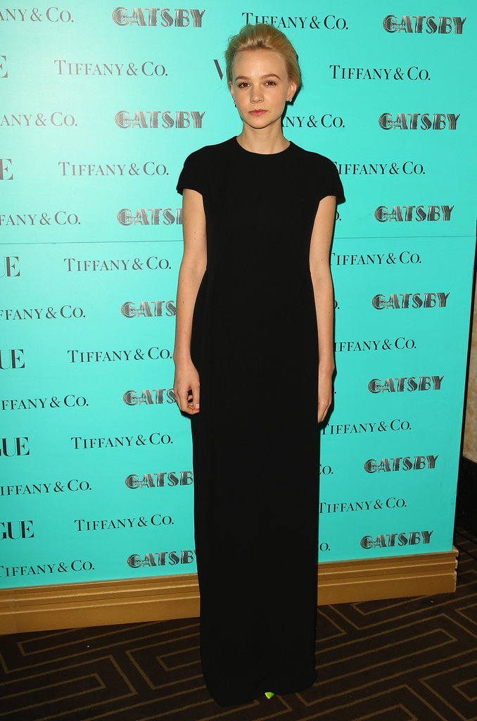 Carey Mulligan was the epitome of minimalistic chic in a black short-sleeved Dior gown at the Tiffany & Co. dinner in honor of The Great Gatsby in Sydney.