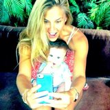 Bar Refaeli snapped a selfie with a tiny friend. Source: Instagram user barrefaeli