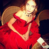 "Derek Blasberg snapped this photo of Natalia Vodianova looking like a ""red taffeta couture cupcake."" Source: Instagram user derekblasberg"