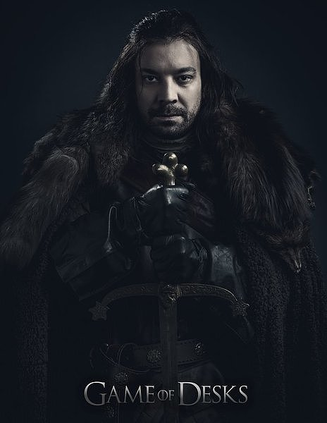 "Sporting fur and a longer 'do, Jimmy Fallon channels his best Stark Ned Stark for ""Game of Desks."""