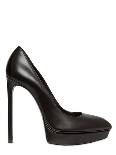 130mm Janis Pointy Leather Pumps