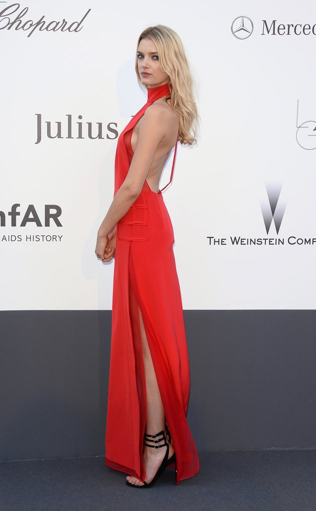 Lily Donaldson's red high-neck Emilio Pucci gown stunned the amfAR crowd.