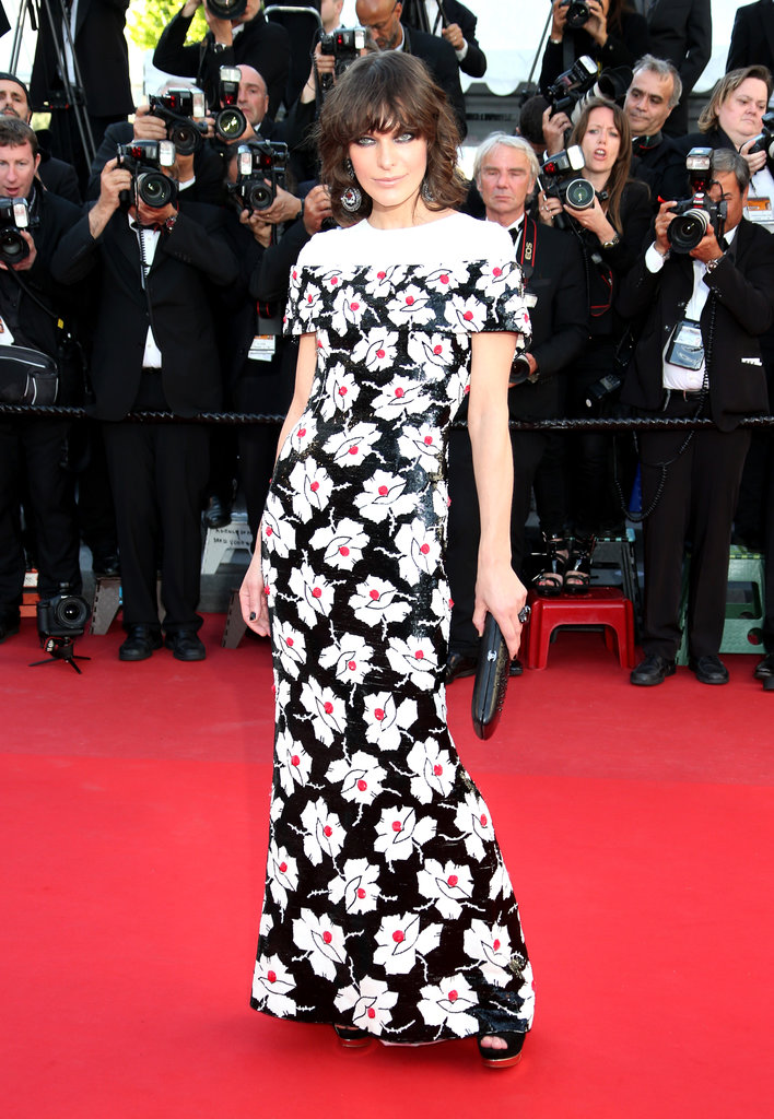 Milla Jovovich wore a dress from Karl Lagerfeld's shoulder-focused Spring 2013 Chanel Couture collection at the 2013 Cannes Film Festival premiere of Blood Ties.