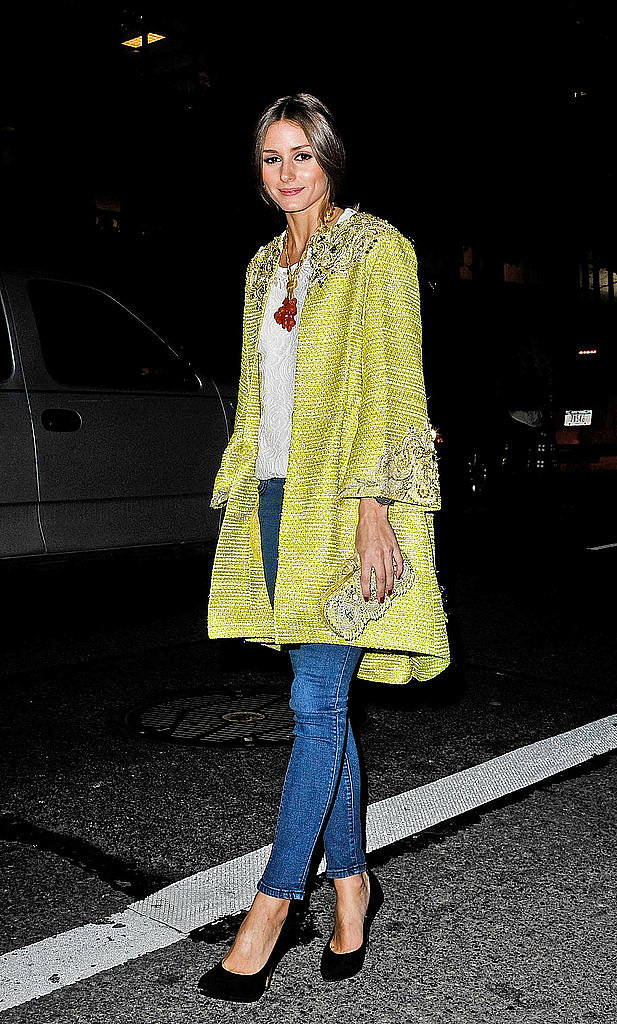 Invest in one fabulously decadent long coat and then wear it with your most simple wardrobe staples. Like Olivia Palermo's daffodil number, it will truly pop.