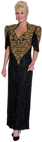 Sweetheart Full Length Beaded Formal Dress