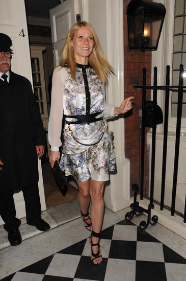 Across the pond in London, Gwyneth Paltrow officially ushered in the start of Summer at a Goop party wearing a blouse, skirt, and belt from Prabal Gurung's Fall 2013 collection.