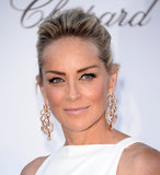Sharon Stone wore gold and diamond-accented earrings.