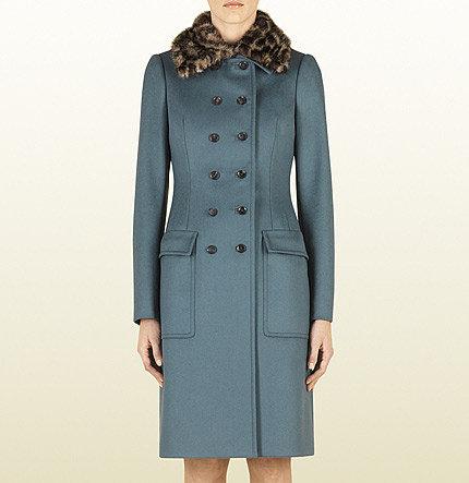 Wool Coat With Jaguar Print Mink Collar