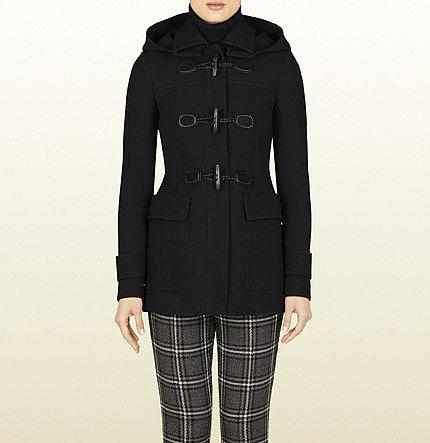 Black Wool Hooded Coat